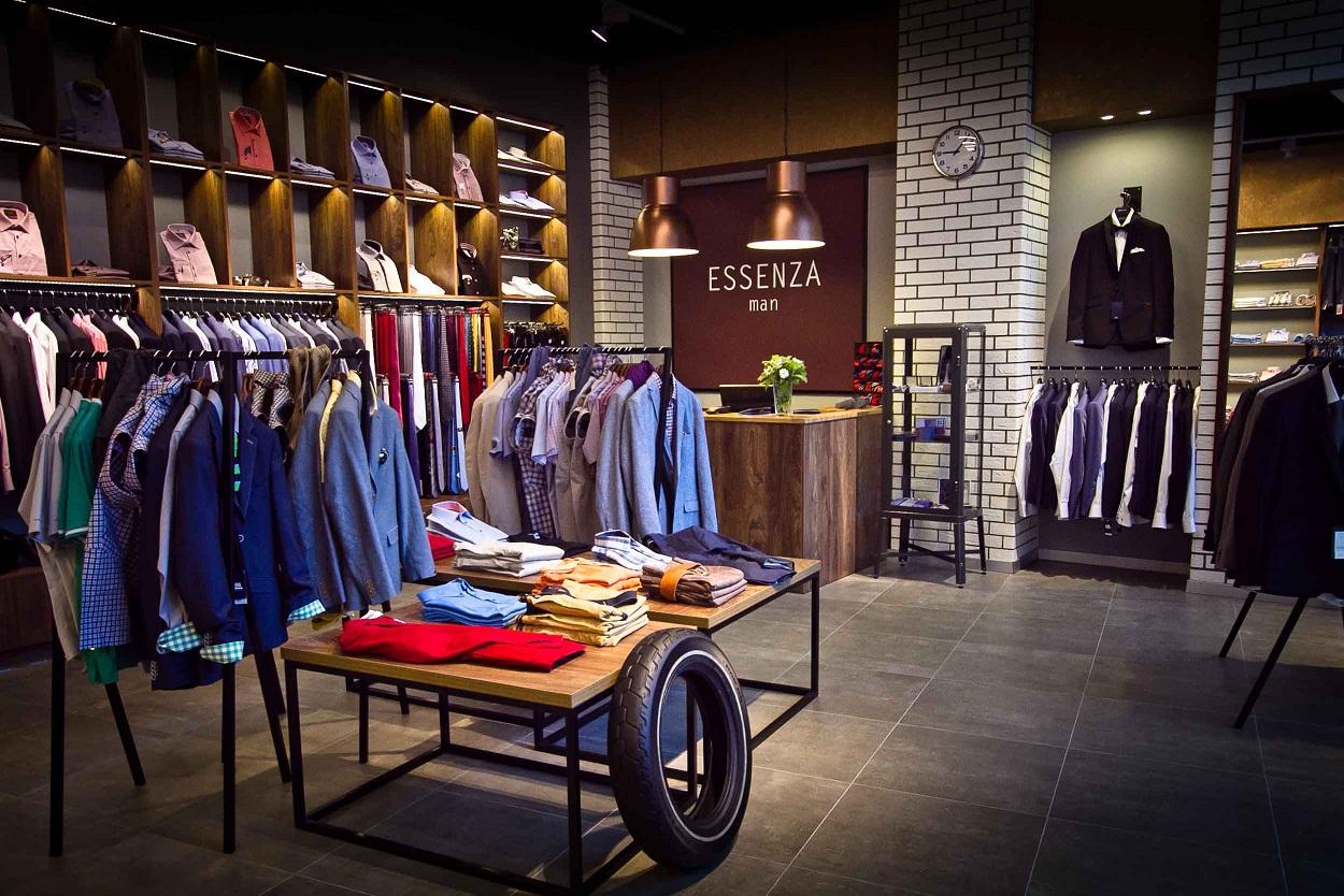 sklep z odzieżą męską projekt wnętrza
